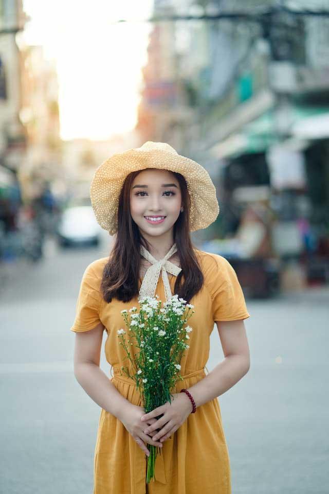 Vietnamese girl in yellow dress