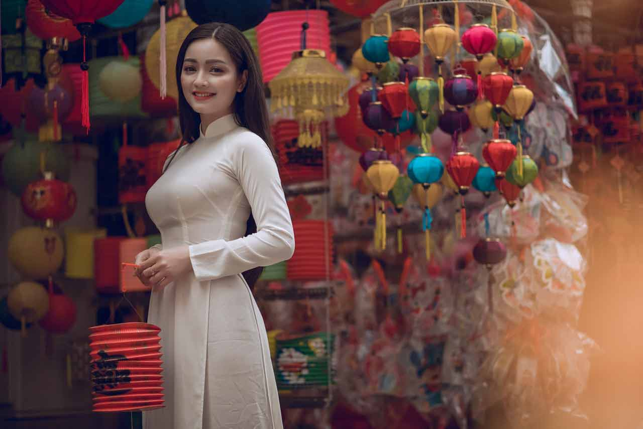 Vietnamese girl in white dress