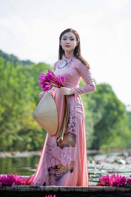 Vietnamese girl in pink dress