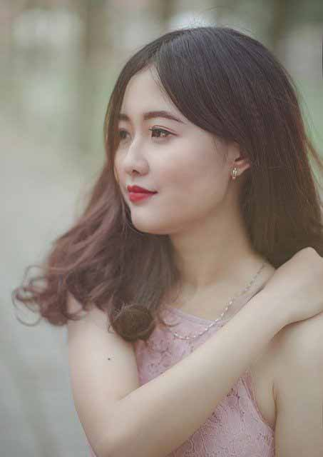 Vietnamese girl in pink dress