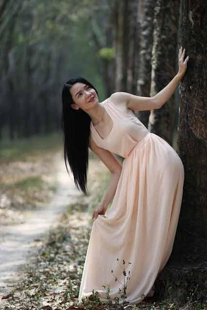 Vietnamese woman in white dress