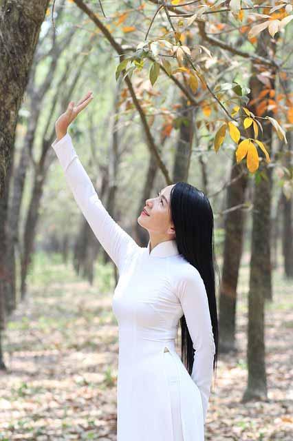 Online dating in Vietnam: Vietnamese girl wearing a white áo dài