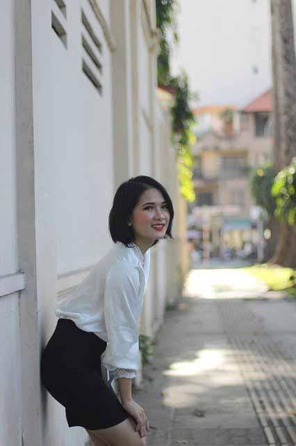 Vietnamese girl wearing a white blouse