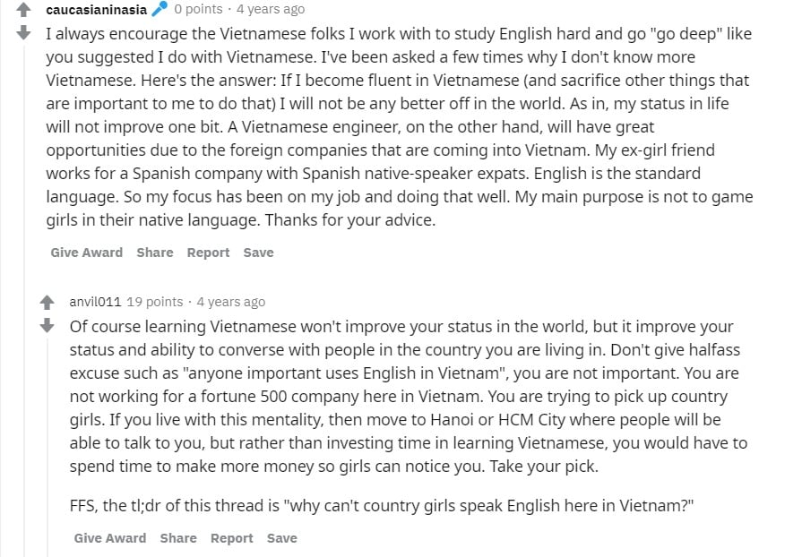 Foreigner making excuses