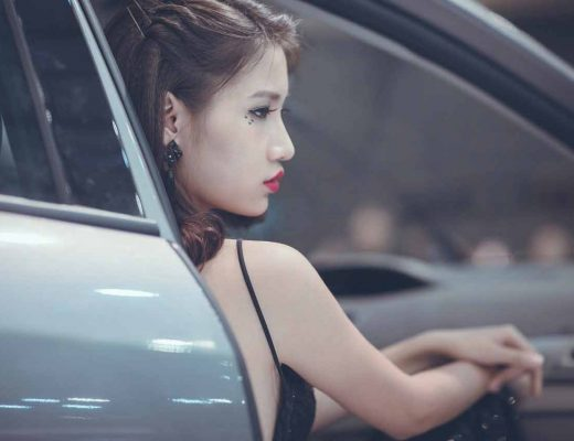 Vietnamese girl inside a car
