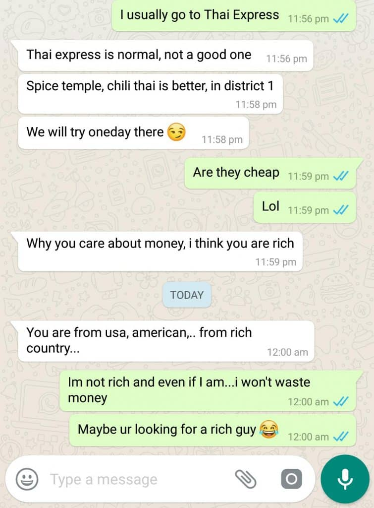 Whatsapp conversation with a gold digger