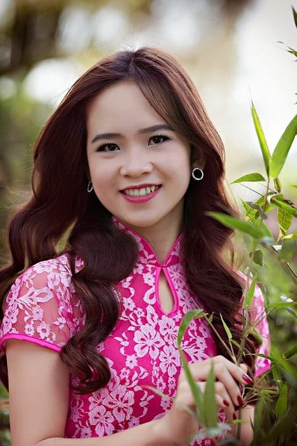 Pretty Vietnamese Girl in pink dress