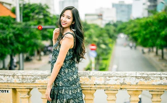 Vietnamese girl in green dress