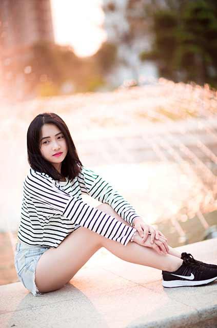 Vietnamese girl wearing zebra shirt