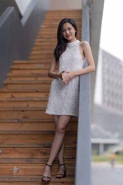 Girl wearing white