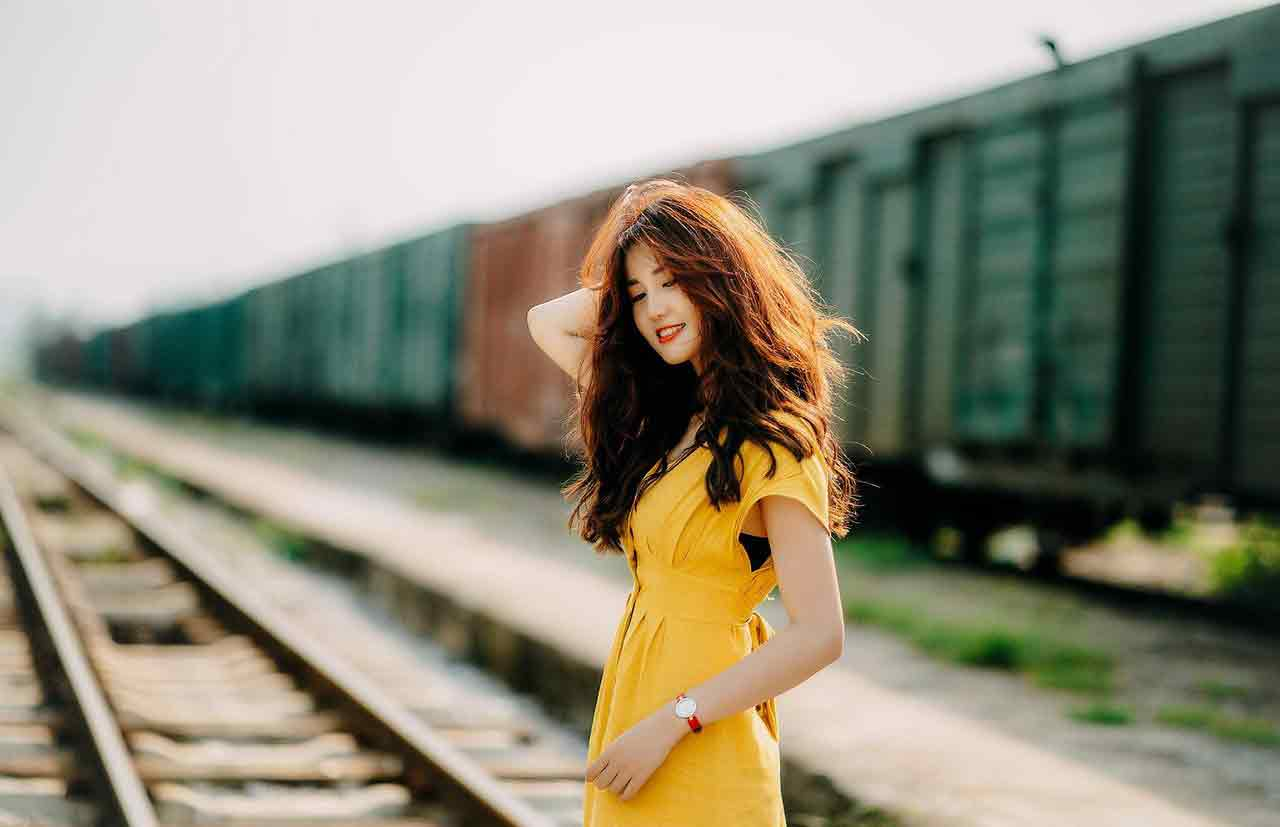 Vietnamese girl in yellow dress
