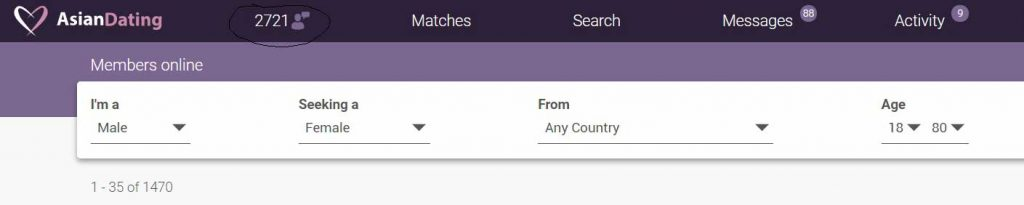Asiandating members online screen