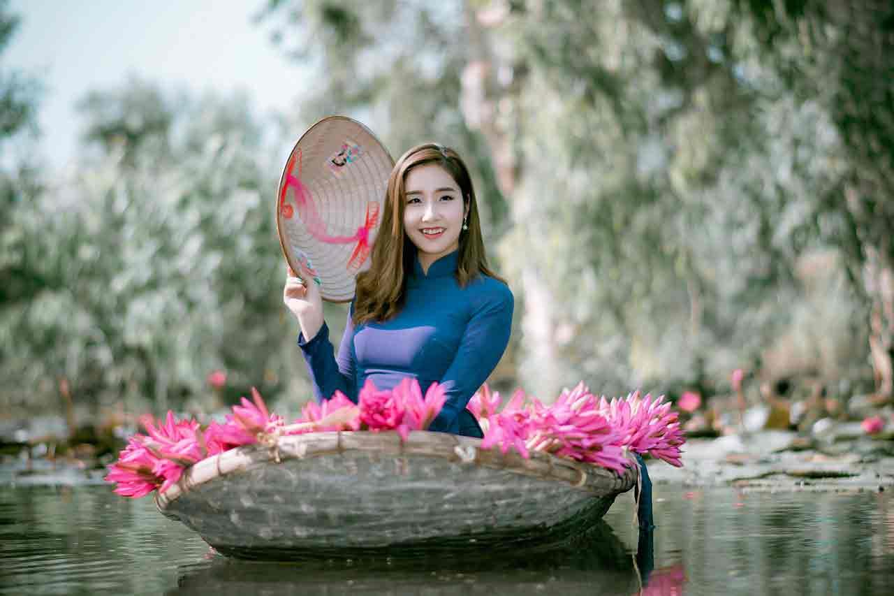 Vietnamese girl in blue dress