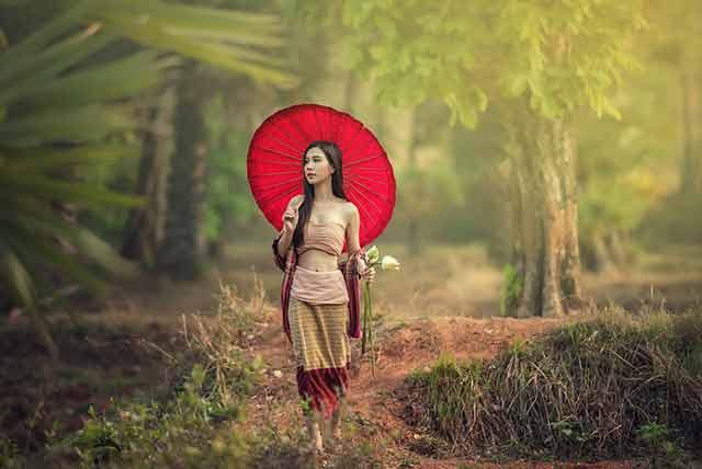Thai girl holding umbrella