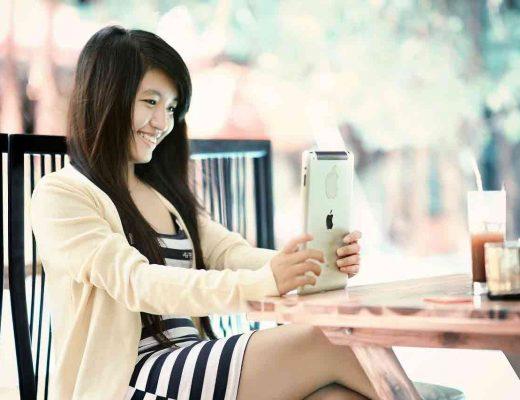 Vietnamese girl using a tablet