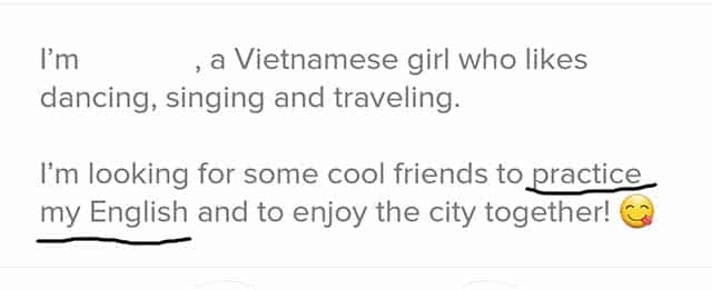 Vietnamese girl looking to use men to practice English