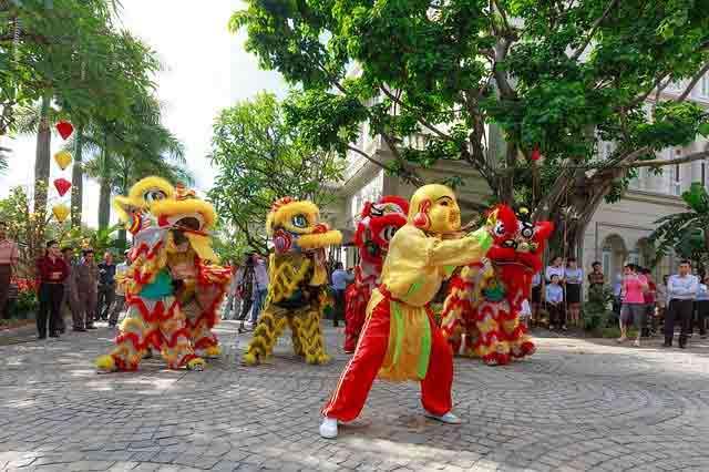 Lion dance during Tet