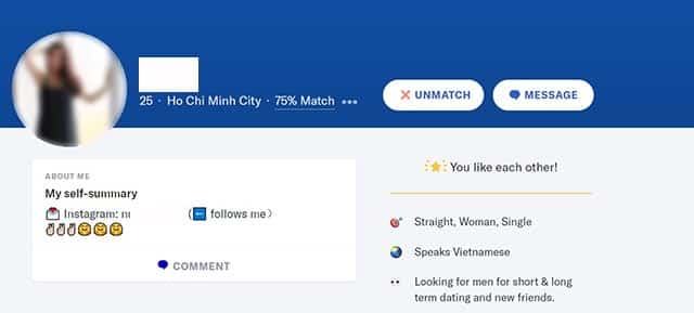 Online dating pitfalls in Vietnam: girl using okcupid to get instagram followers