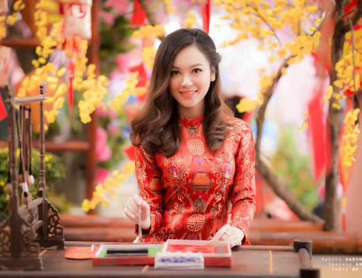 Vietnamese girl wearing red ao dai