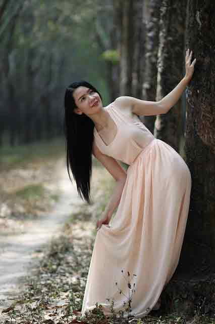 Vietnamese girl ina  white dress